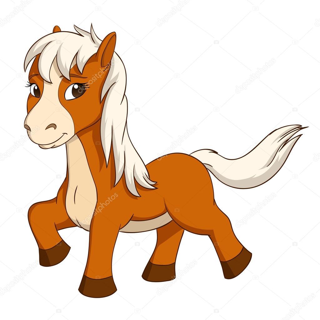 Cartone animato carino piccolo cavallo — vettoriali stock