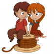 Boy and girl are sitting with heart shape on white background — Stock Vector