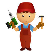 Cartoon handyman with hammer and drill — Stockvector