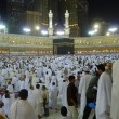 Stok fotoğraf: Ground level inside Masjid Al-Haram during night.