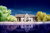 Infrared photo of ancient colonial palace. — Stock Photo