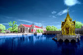 Infrared photo of temple with reflection — Stock Photo