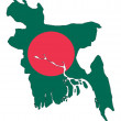 Maps of Bangladesh in Bangladesh flag. — Stock Photo
