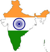 Maps of India in India flag. — Stock Photo