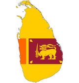Maps of Sri Lanka in Sri Lanka flag. — Foto Stock