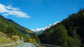 Empty road inside Switzerland with beautiful landscape — Stock Photo