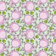 Seamless pattern with cute pigs — Stock Vector
