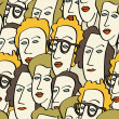 Crowd of funny peoples — Stock Vector