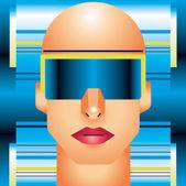 глава киборг женщина. — Cтоковый вектор