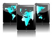 Three black tablet pc — Stock Vector