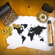 Pirate world map with treasure, compass and binocular — Stock Photo #14617119
