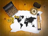Pirate world map with treasure, compass and binocular — Stock Photo