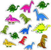 Several colorful dino — Stock Vector