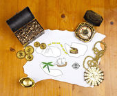 Pirate blank map with treasure, coins, medal, ring and map — Stock Photo