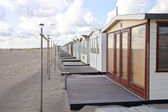 View at beach houses on beach in IJmuiden, The Netherlands — Stock Photo