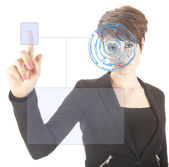 Young woman with security iris and fingerprint scan isolated on white background — Stock Photo