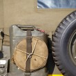 Detailed back side of army jeep with tire and jerrycan — Stock Photo