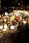 AMSTERDAM, THE NETHERLANDS: Art with desk lamps with lights at annual Amsterdam Light Festival on December 30, 2013. Amsterdam Light Festival is a winter light festival — Stock Photo