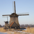 Stock Photo: Two classic windmills in winter with blue sky