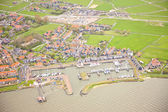 View at harbor of historic island of Marken, The Netherlands from above — Stock Photo