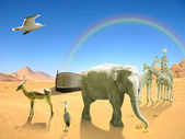 Arc of Noah with elephant, birds, giraffes in desert with rainbow — Stock Photo