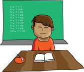 Young boy not enjoying making homework — Stok Vektör