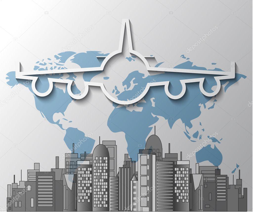 型飞机在世界地图上的城市天际线的插图