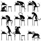 Typing monkeys — Stock Vector
