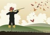 Armed scarecrow — Stock Vector