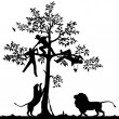 Chased by lions — Stock Vector