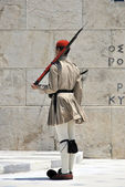 Greek soldier standing — Stock Photo