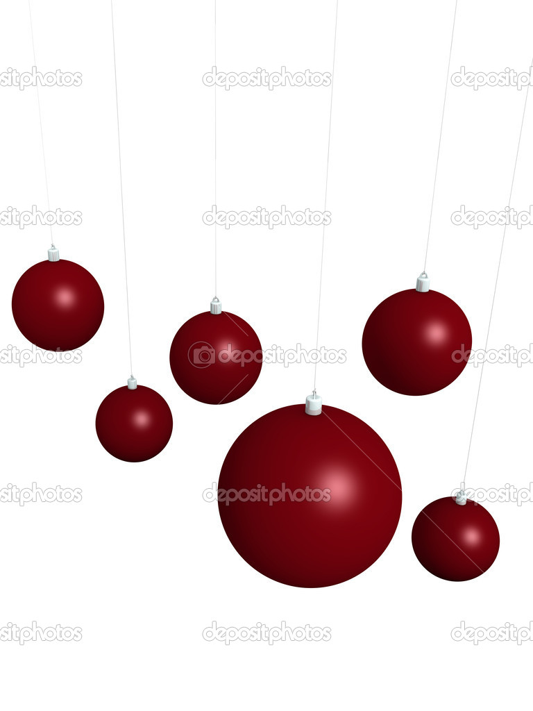 Some red xmas balls isolated over a white background  Stock Photo #15324645