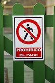 Prohibido el paso — Stock Photo
