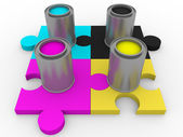 Cmyk tints puzzle — Stock Photo
