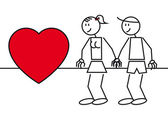 Stick figures couple in love — Stock Vector