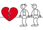 Stick figures heart break — Stock Vector