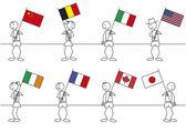 Stick figures flags — Stock Vector