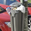 Bin on a lamppost — Stock Photo