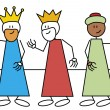 Stick figure three wise men — Stock Vector