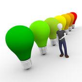 человек, представляя энергоэффективности — Стоковое фото