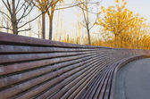 Very large wooden bench — Stock Photo