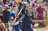 Two medieval fighters — Stock Photo