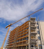 Scaffolds and crane — Stock Photo