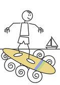 Stick figure surfing — 图库矢量图片