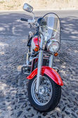 Motorcycle parked outside — Stock Photo