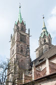 Towers of St. Lorenz Church in Nuremberg — Stock Photo