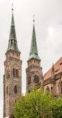 Towers of St. Sebald Church — Stock Photo