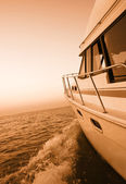 Boating at sunset — Stock Photo