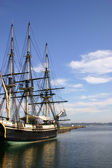 Old ship at dock — Stock Photo
