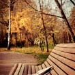 Stock Photo: Newspaper on bench in autumn park